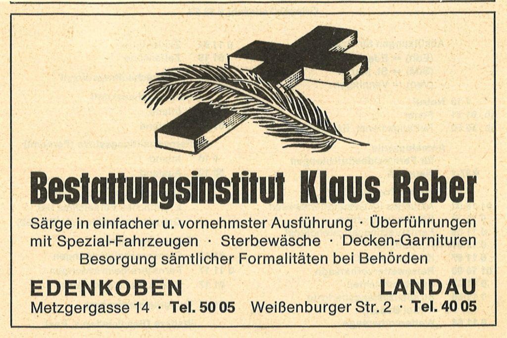 Bestattungsinstitut Klaus Reber - Anzeige