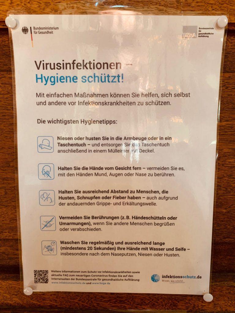 Tipps zu Hygienemaßnahmen des Bundesgesundheitsministeriums