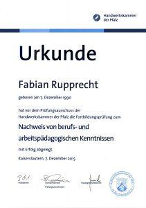 Urkunde Handwerkskammer Fabian Rupprecht