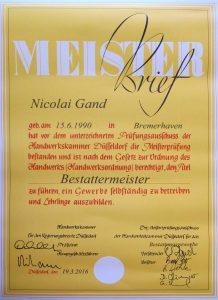 Meisterbrief Nicolai Gand